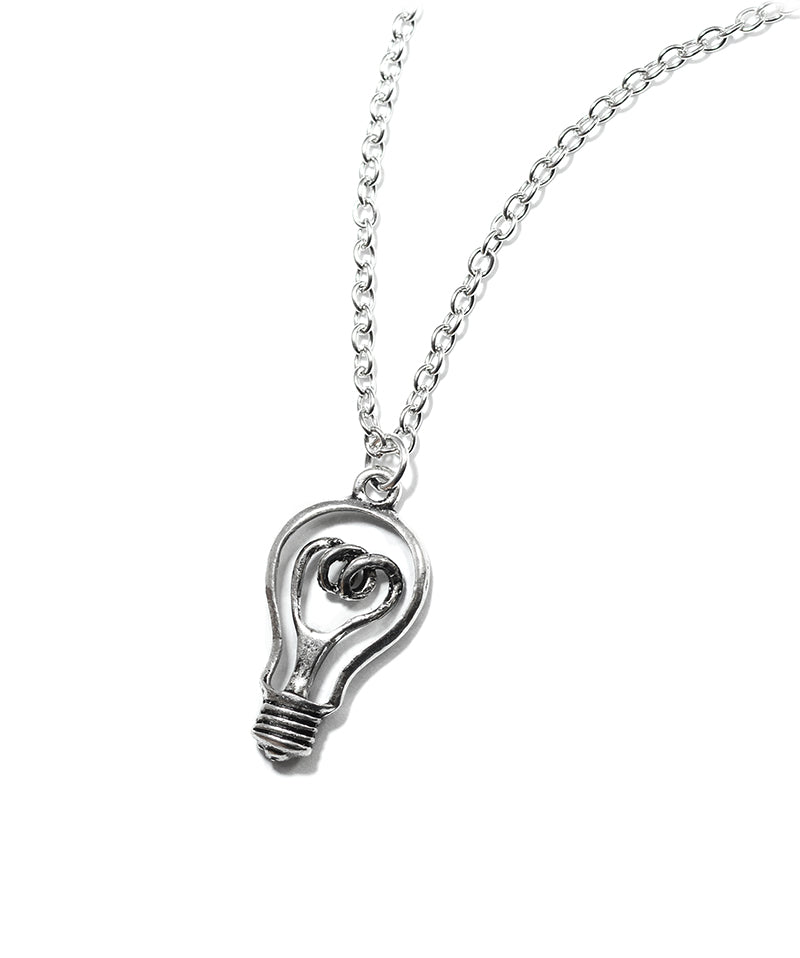 Vintage Silver Light Bulb Charm Necklace