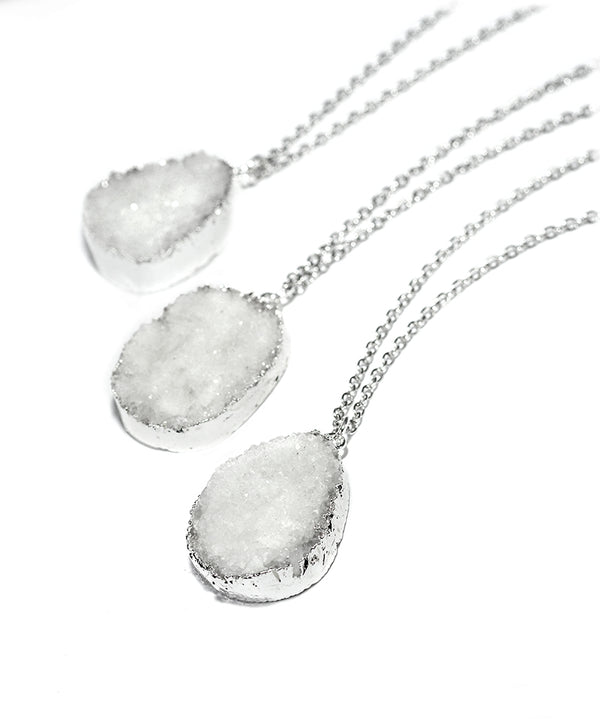 White Crystal Quartz Druzy Silver Necklace