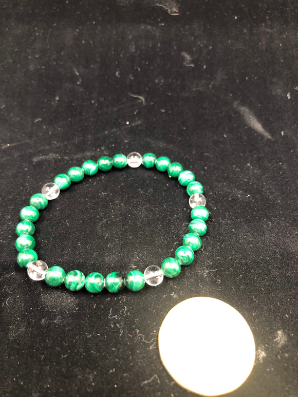 Malachite Beads with Crystal Quartz Bracelet.