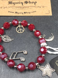 Bracelet - Red Glass Beads with Charms
