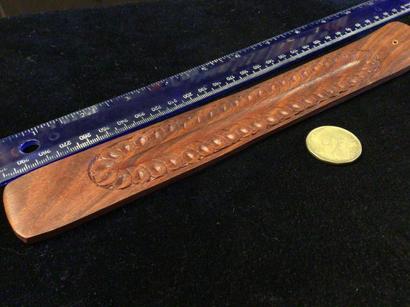 Wooden Incense Holder, Feather Motif