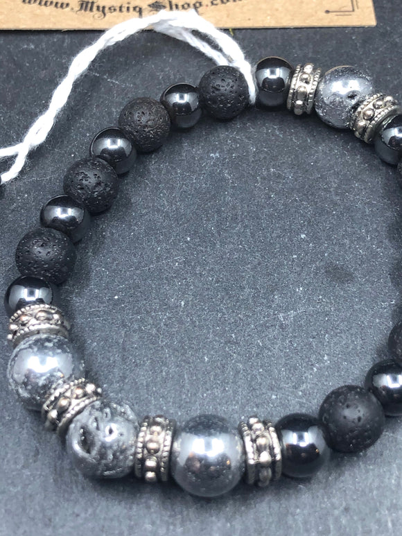 Bracelet - Pyrite and Lava Rock