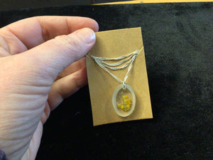 Tiny Dried Flowers in Bevelled Resin Pendant