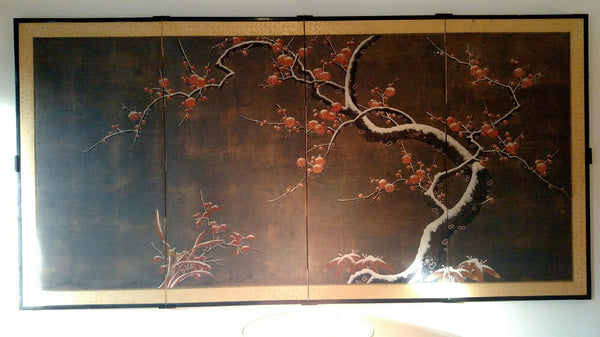 An example of hanging a four-panel Japanese screen