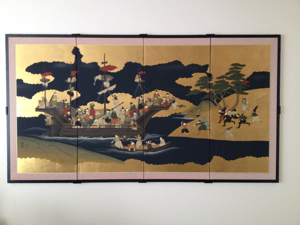 An example of hanging this Japanese screen on the wall