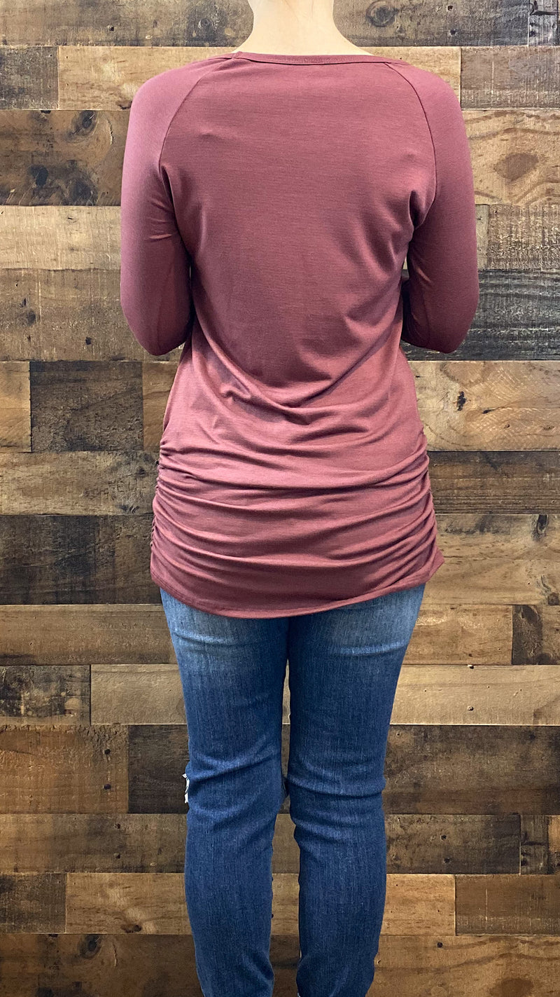Ruched Layering Top- Light Sangria