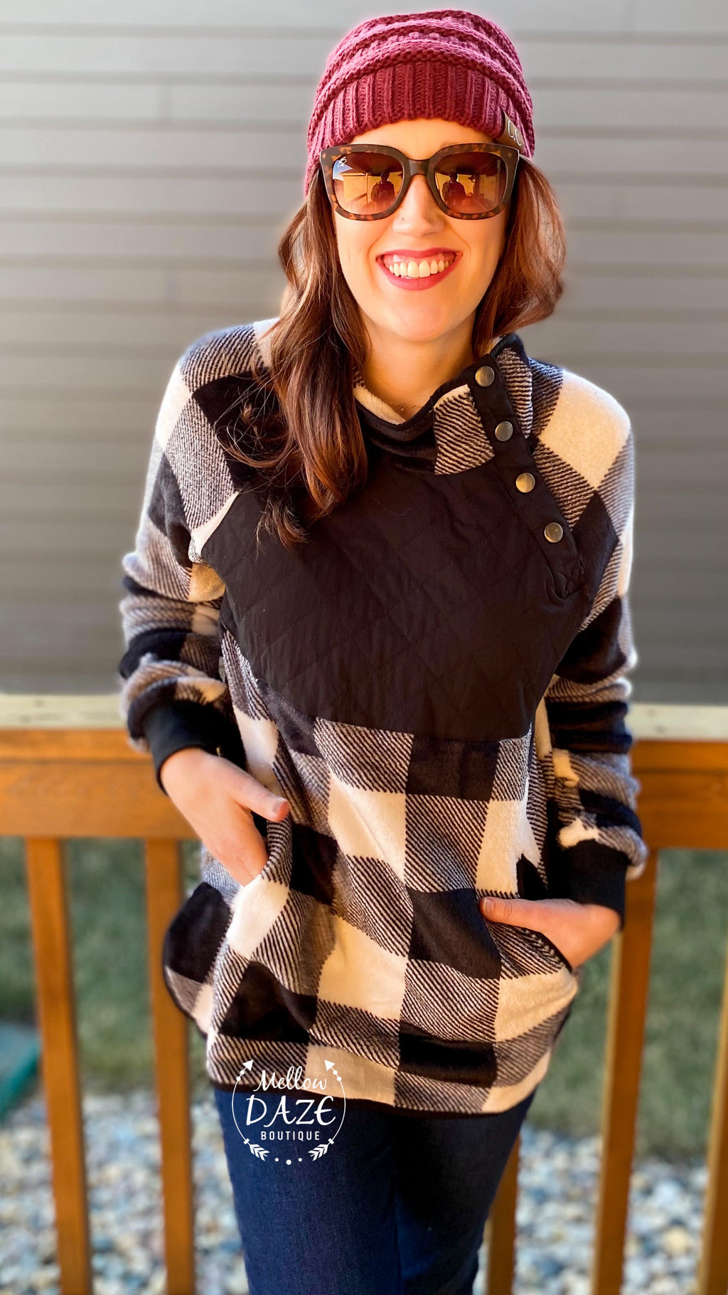 Buffalo Plaid Snap Sherpa Pullover