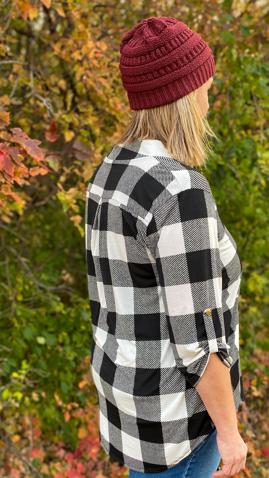 3/4 White & Black Buffalo Plaid Top