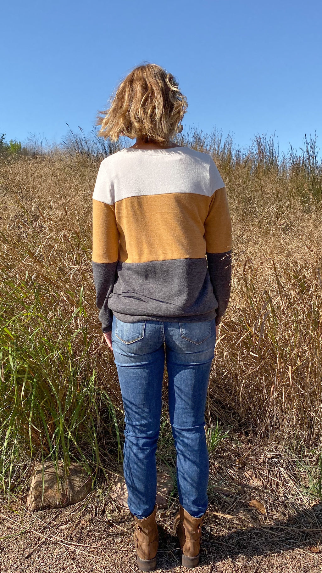 Mustard Color Block Top