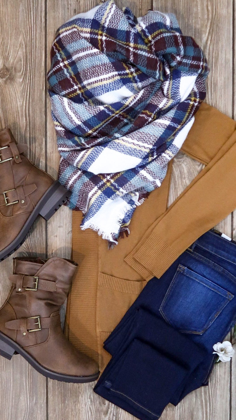 Plaid Blanket Scarf- Teal & White