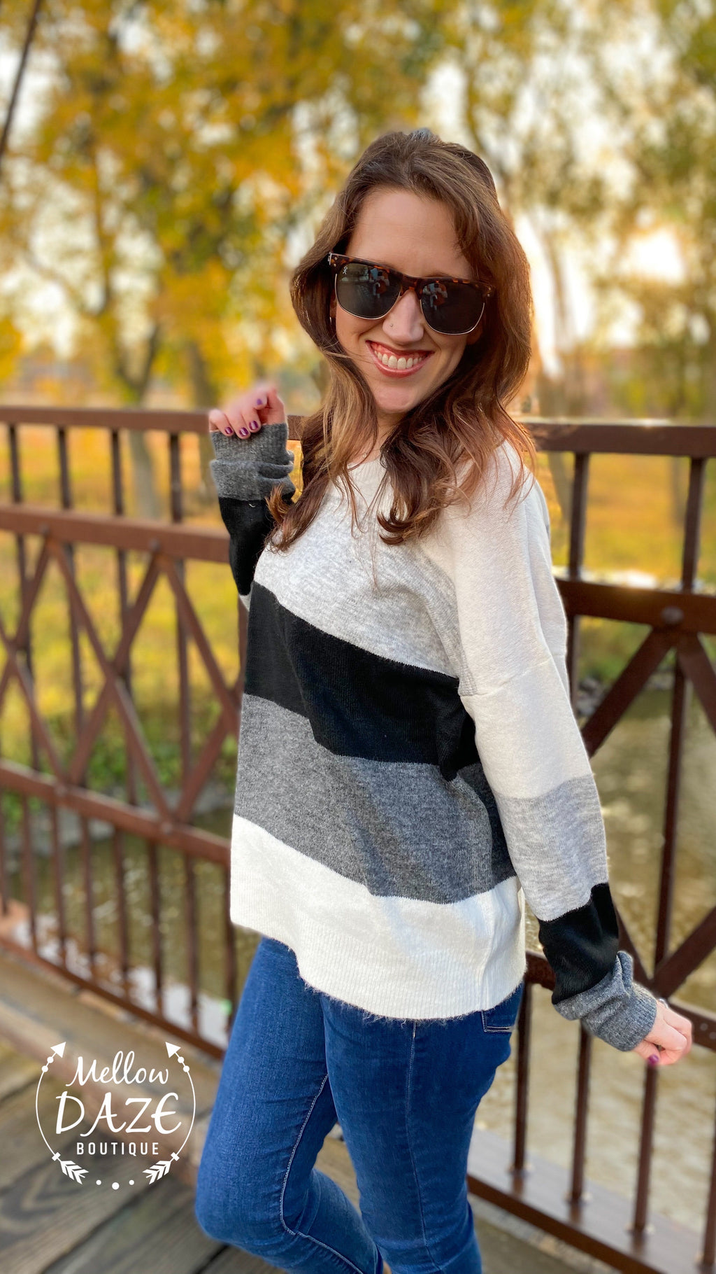 Grey & Black Color block sweater
