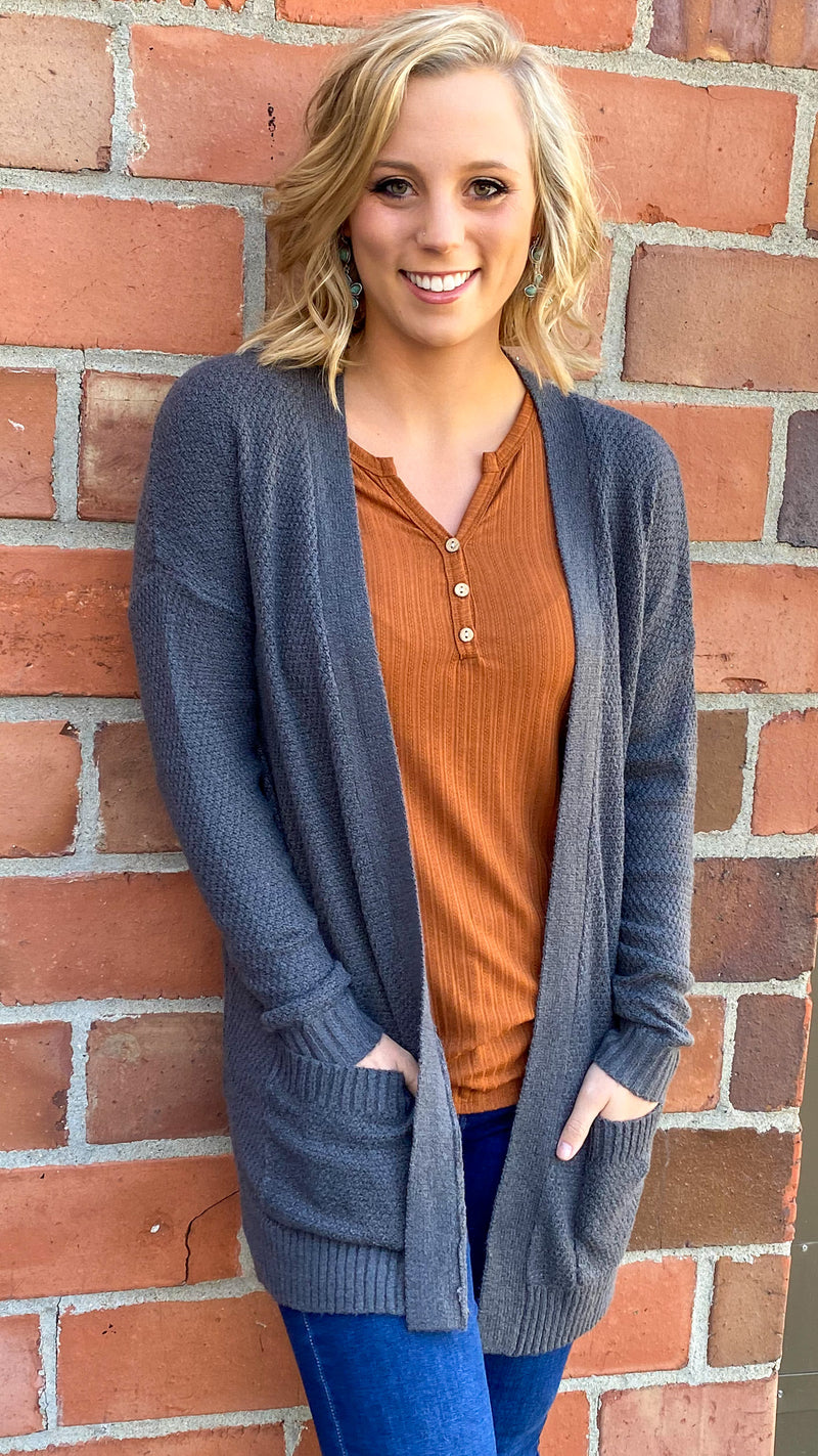 Cuddle Up Knit Cardigan-Charcoal