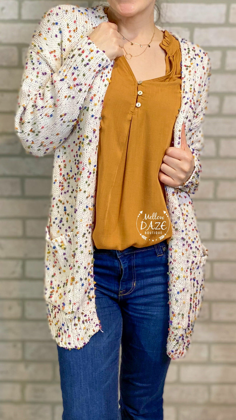 Miley Dot Cardigan- Oatmeal