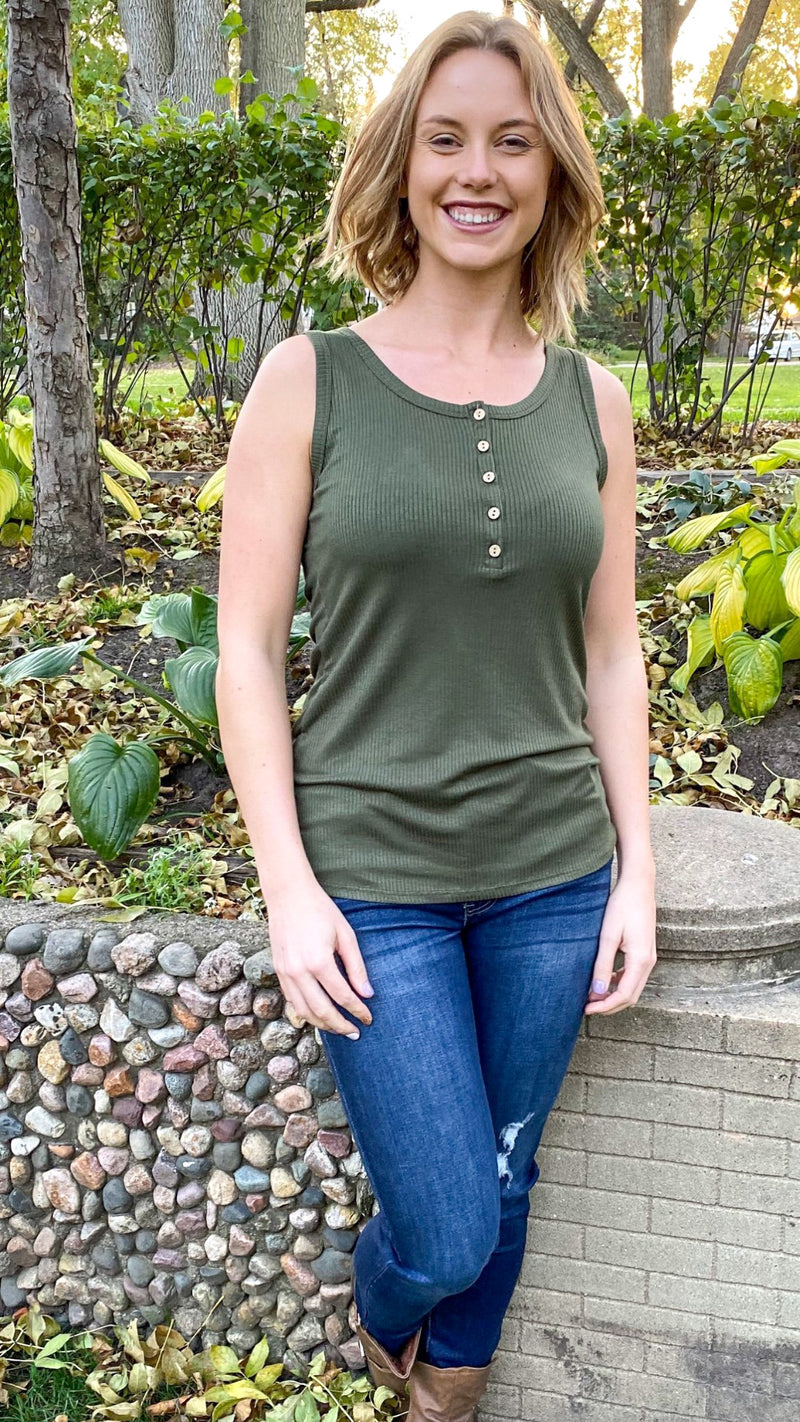 Henley Button Tank-Olive