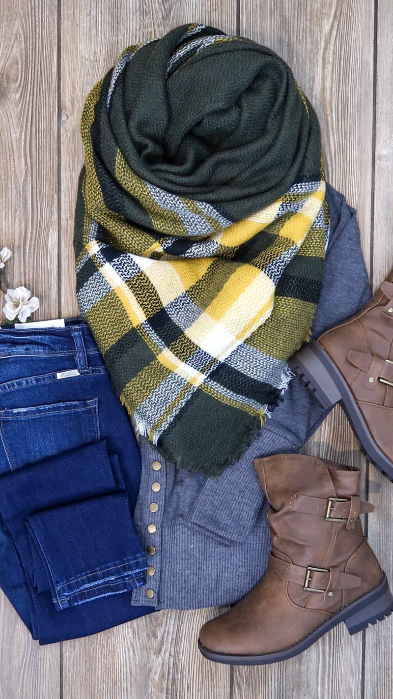 Plaid Blanket Scarf- Olive & Yellow