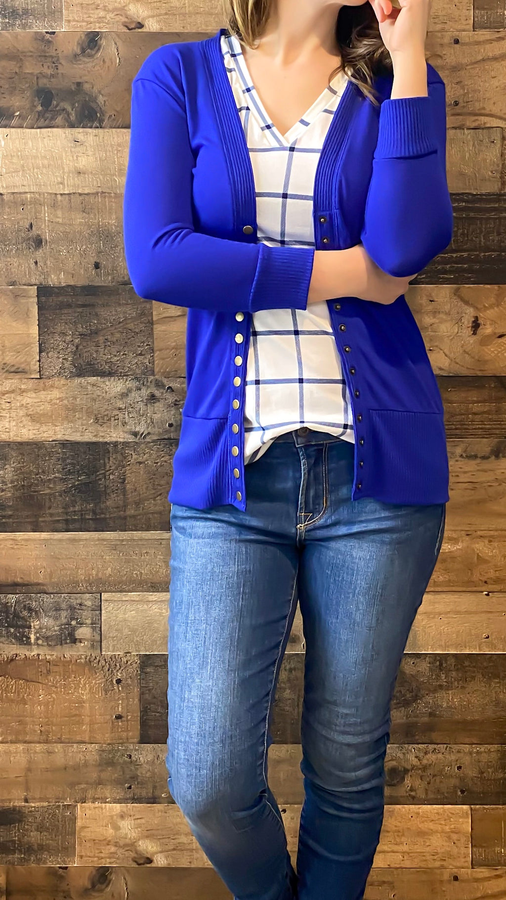 Royal Blue 3/4 Snap Cardigan