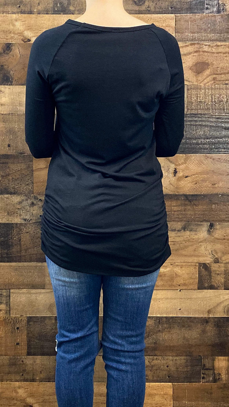 Ruched Layering Top- Black