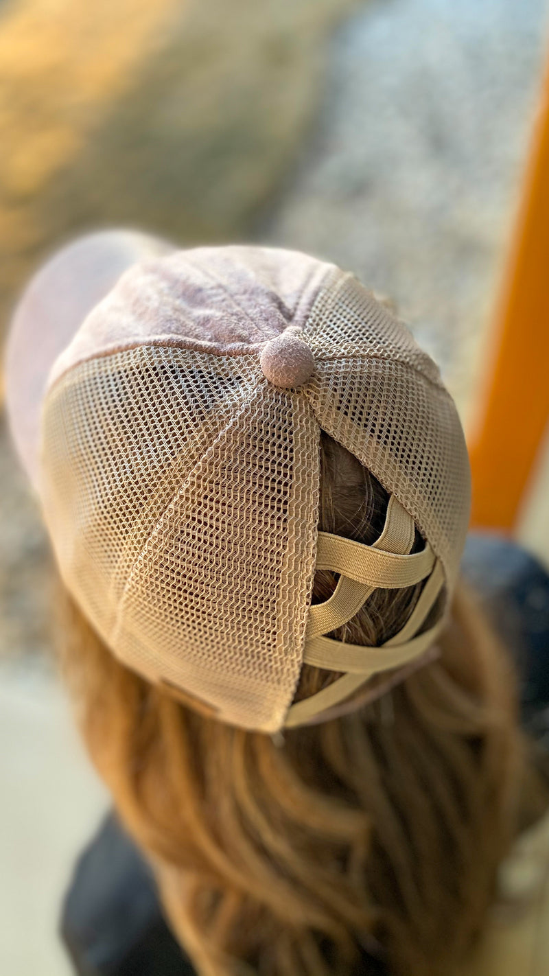 C.C. Blush Pink Criss Cross Cap