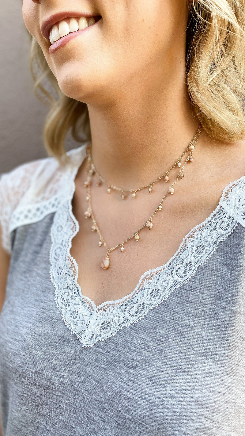 Layered Marbled Necklace- Pink