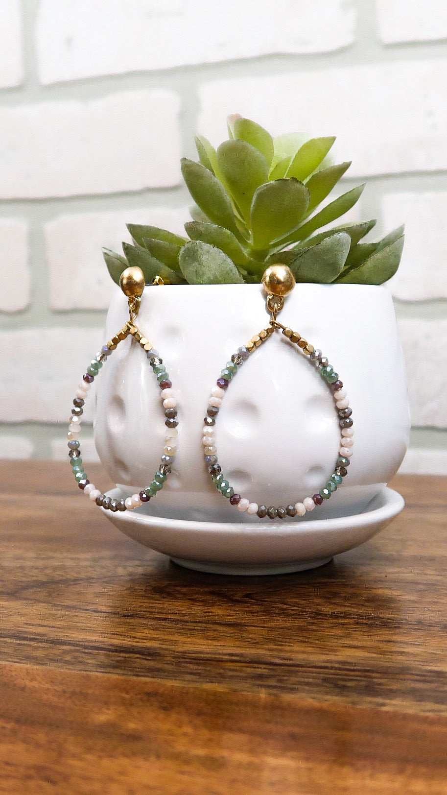 Beaded Hoop Earring- Mint