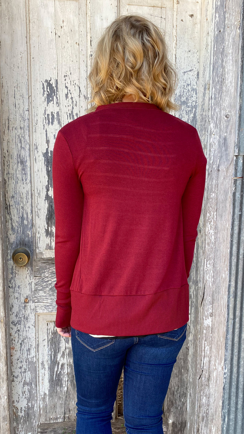 Snap Button Cardigan-Cabernet