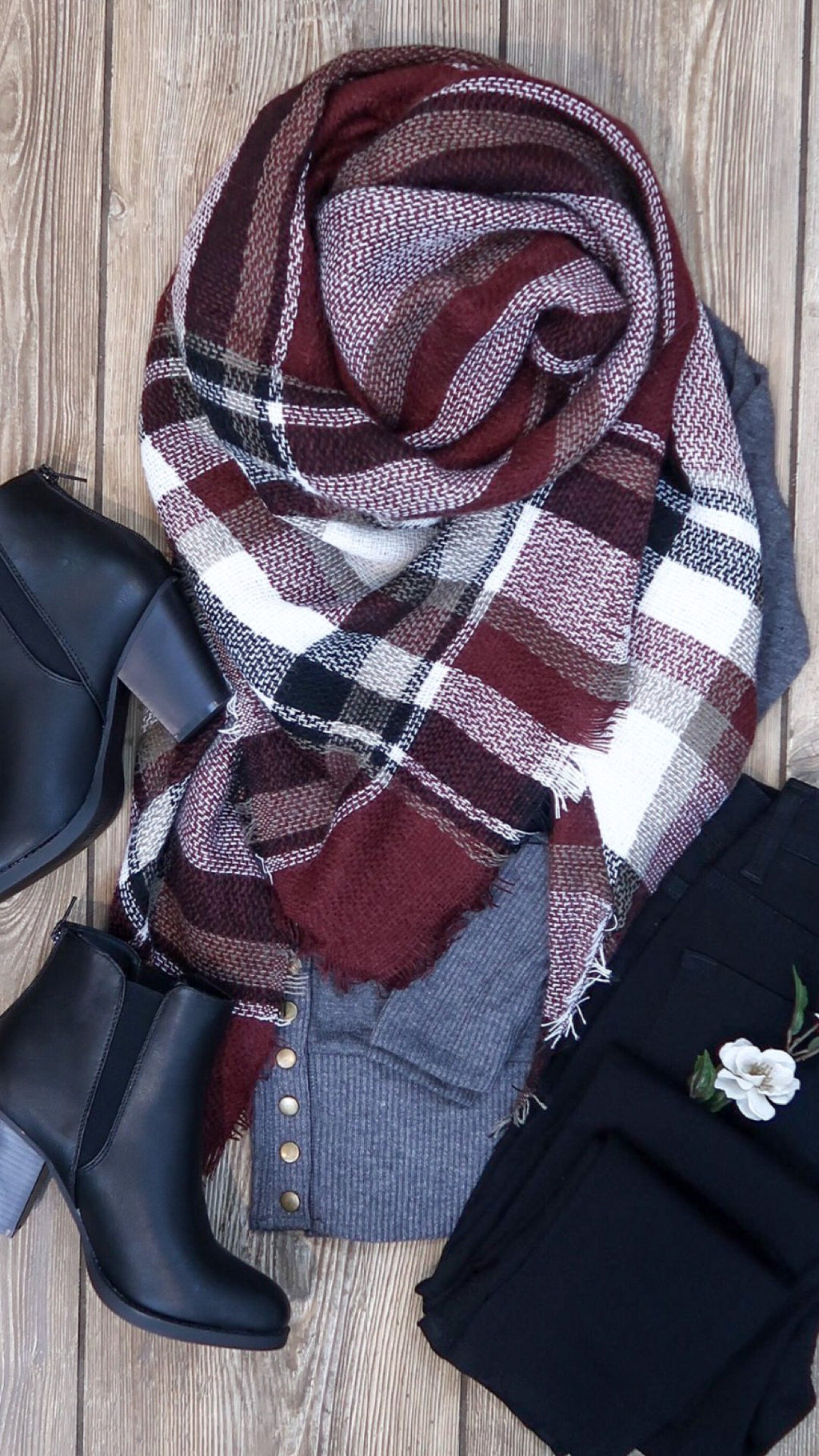 Plaid Blanket Scarf- Burgundy & Black
