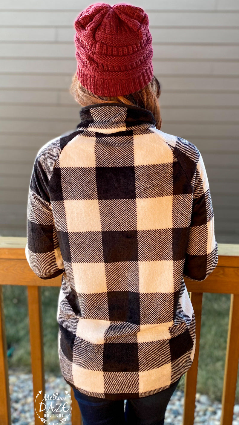 Buffalo Plaid Snap Sherpa Pullover Top