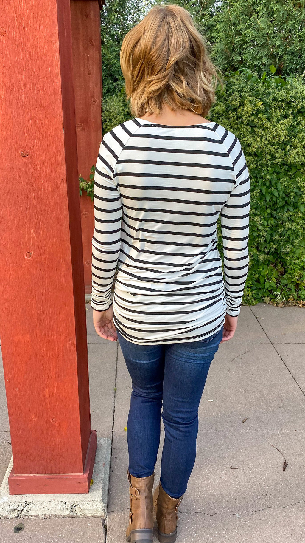 Ruched Layering Top- Striped