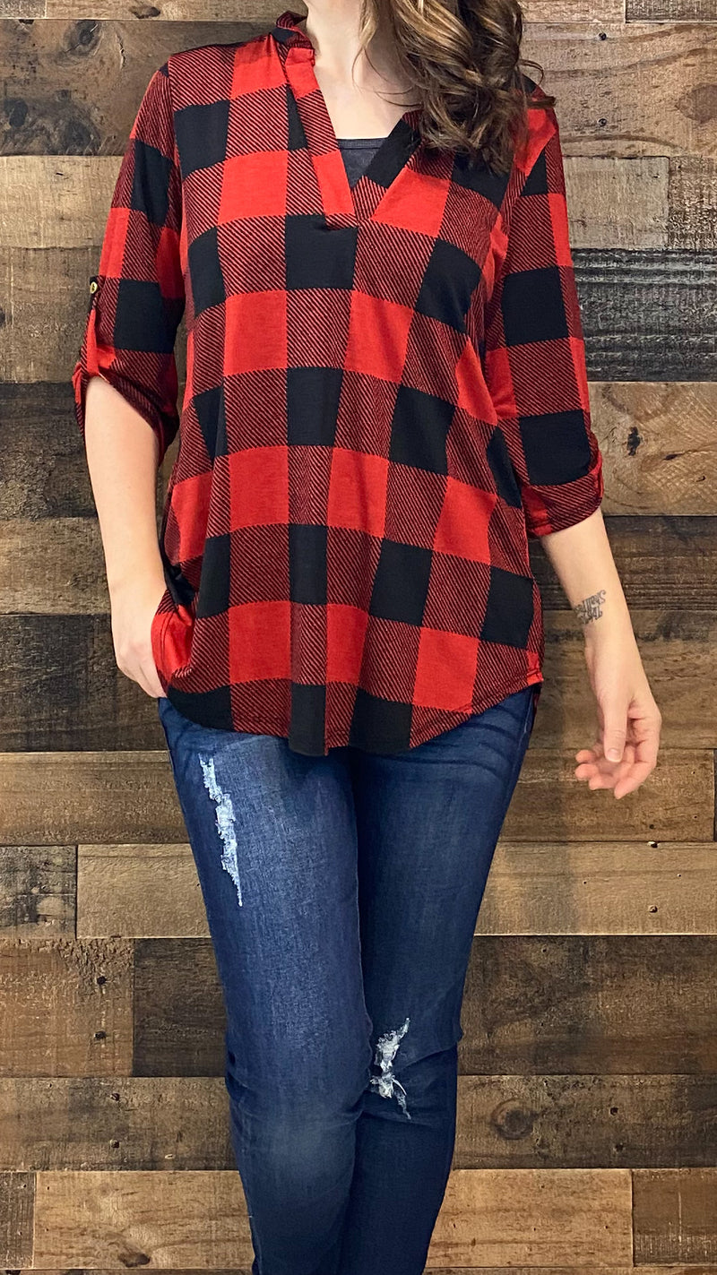 3/4 Buffalo Plaid Top