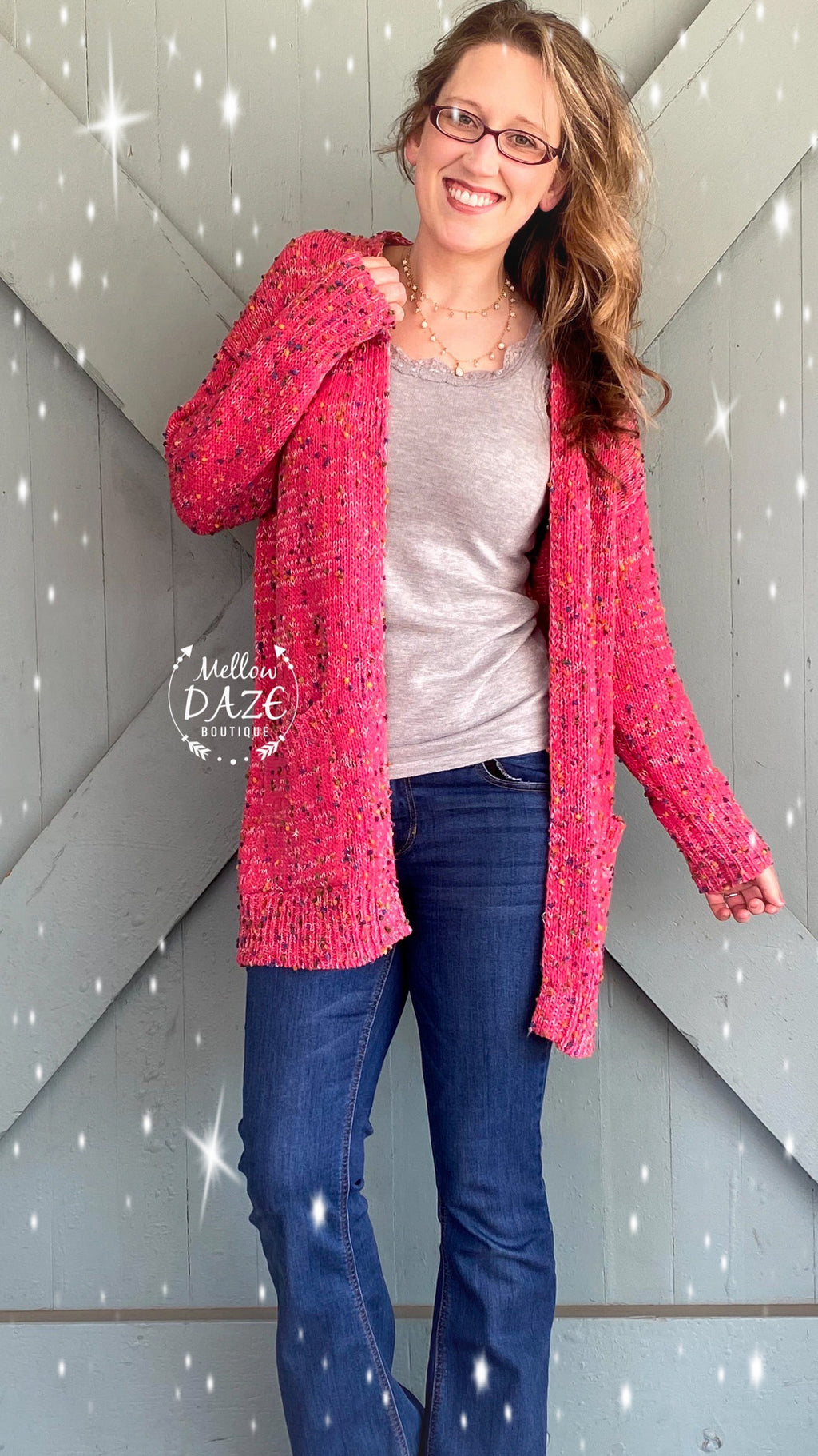 Miley Dot Cardigan- Pink