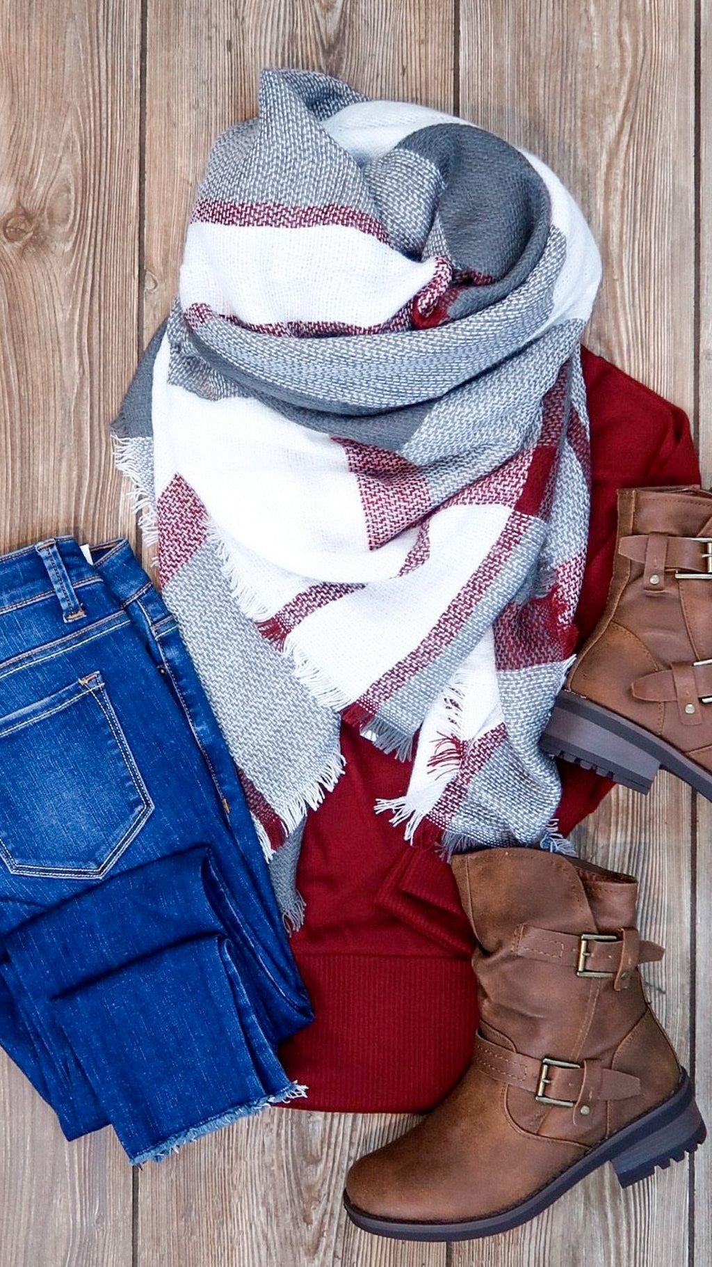 Plaid Blanket Scarf- Grey & Burgundy