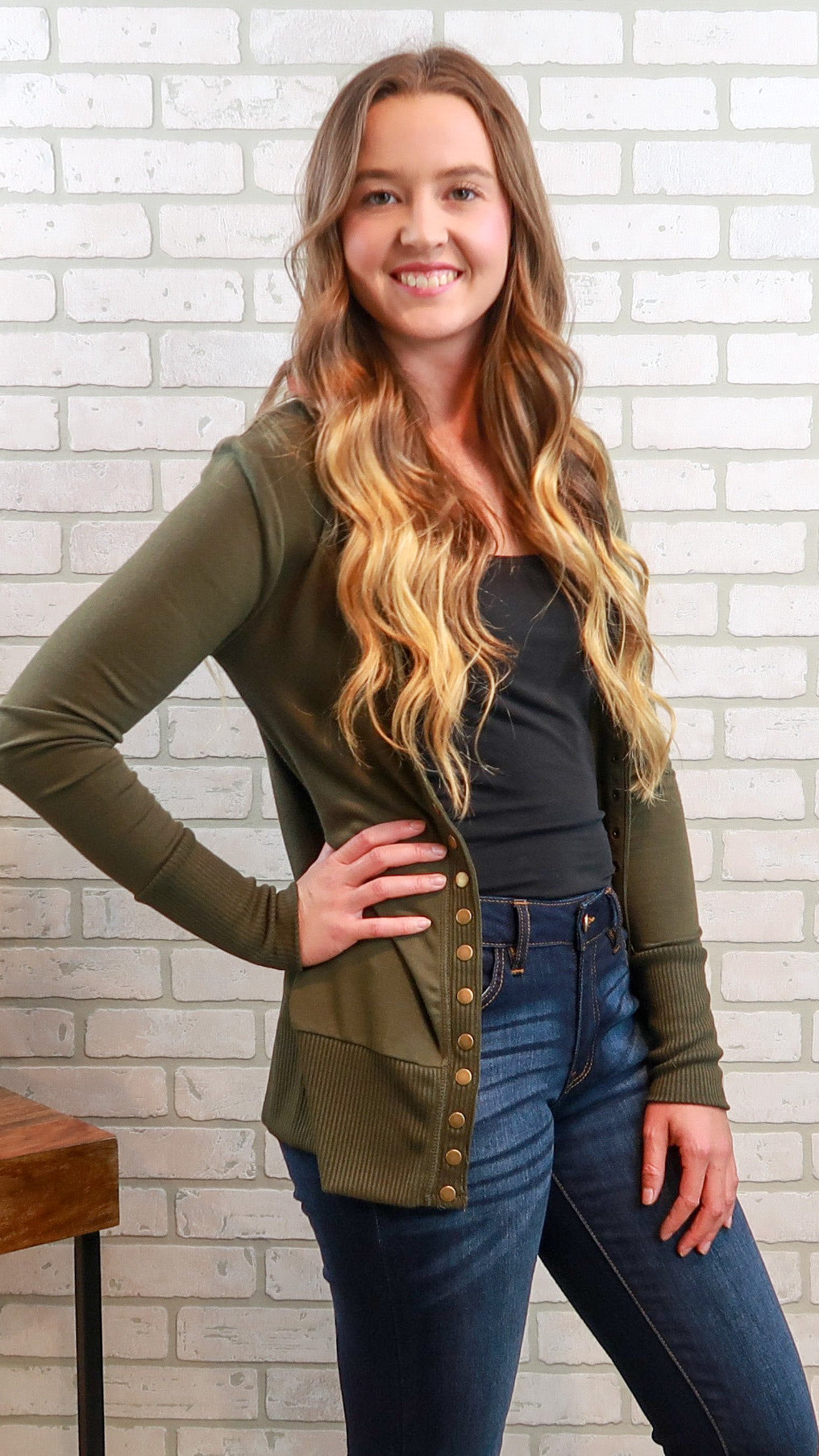 Snap Button Cardigan-Olive