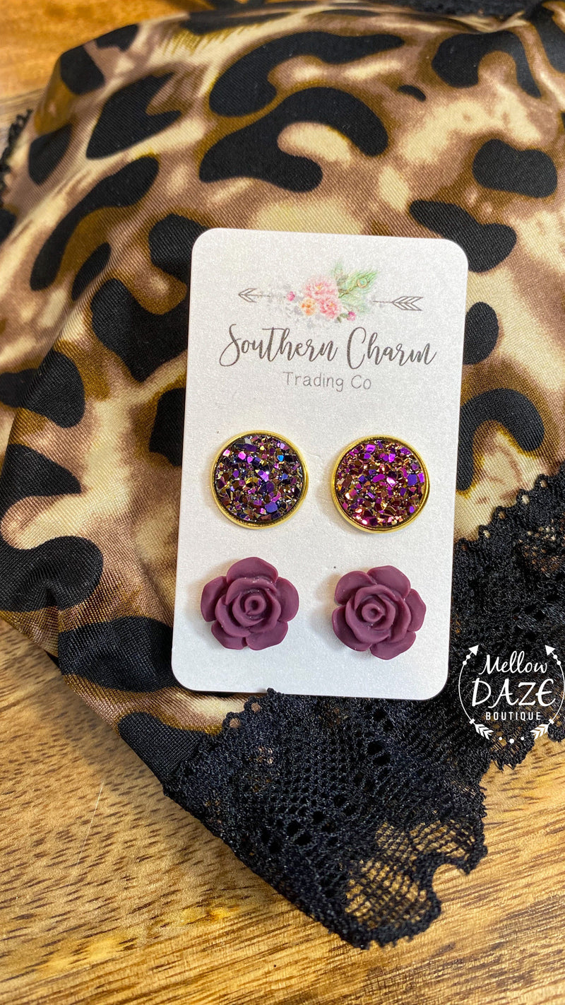 Burgundy Rose Duo Set