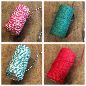 christmas colored bakers twine