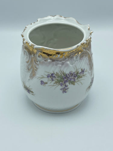 Vintage German Flower Vase with Gold Trim
