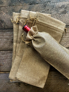 "(25) Burlap Wine Bottle Gift Bags with Drawstring (Jute Wine Bag) - 6""x14"""