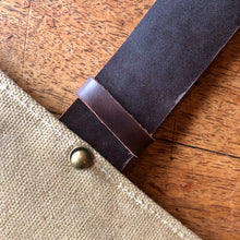 Load image into Gallery viewer, Best gift for a gardener is this cool tool pouch made of canvas and leather.