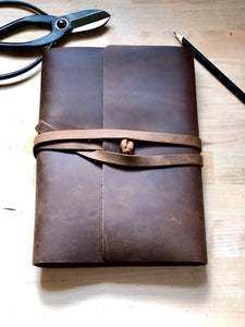 vintage journal bound with leather