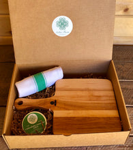 Load image into Gallery viewer, Gardening Gift Box - Garden to Table (Charcuterie Board, Kitchen Towel and Salve)