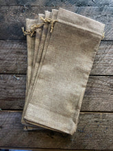 Load image into Gallery viewer, burlap bottle bag with drawstring