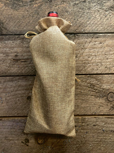 jute drawstring bag for wine and bottles