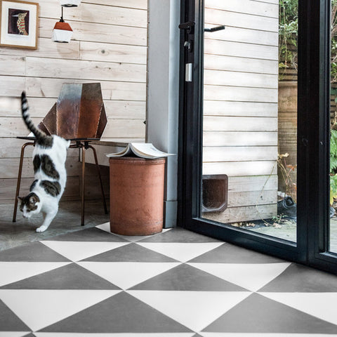 Rubber kitchen flooring with grey triangular tiles