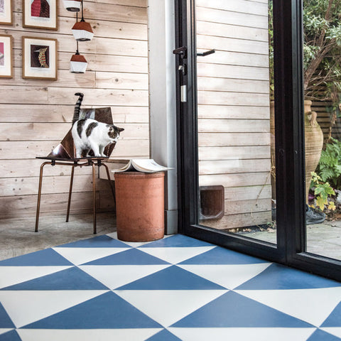 Stoke Newington Blue Rubber Triangle Tiles