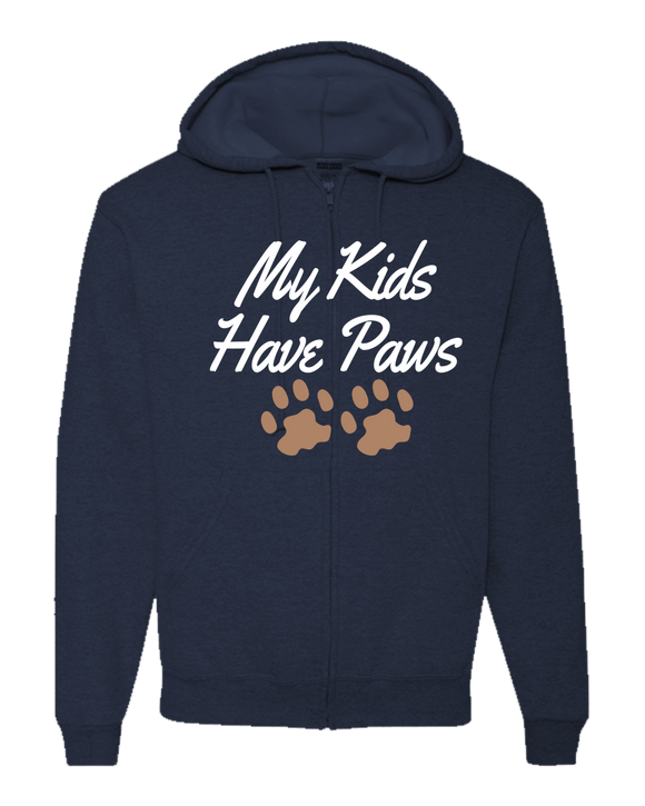 My Kids Have Paws - Adult Zipper Hoodie