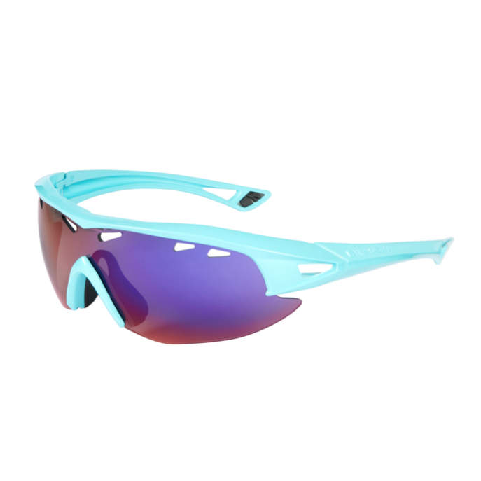 Madison - Recon glasses - gloss blue curaco frame, purple blue mirror lens