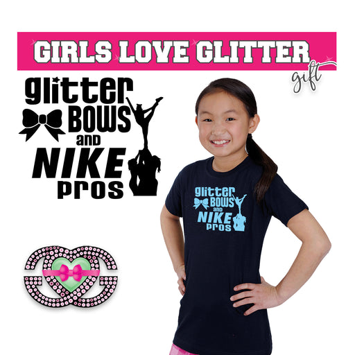Cheer Tee Glitter Bows and Nike Pros