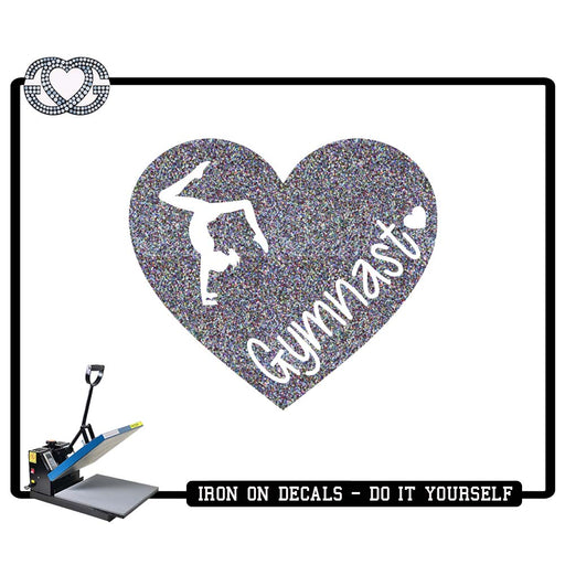 Gymnastics Iron On Decal Gymnast Heart Handstand