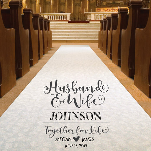 Wedding Aisle Runner - Husband and Wife