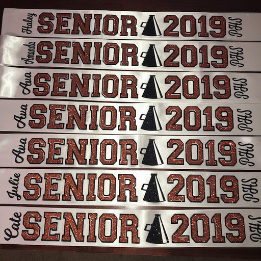 Senior Sash Cheer With Outline Megaphone and School Letters