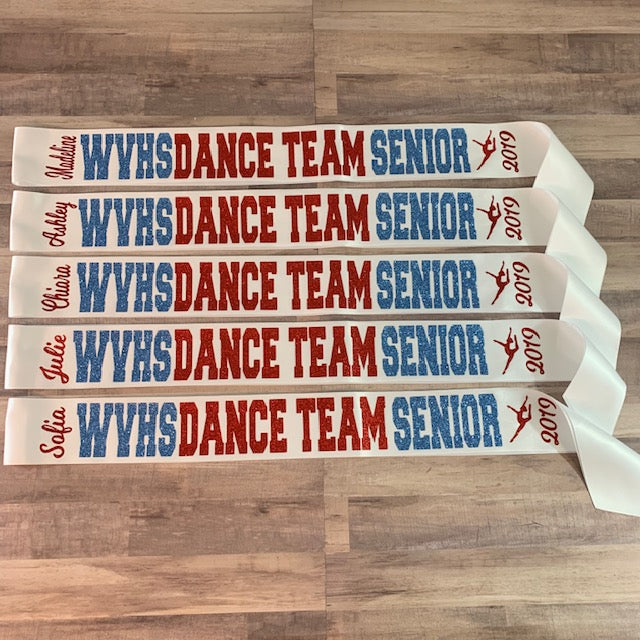 Senior Sash Dance Team with School Letters